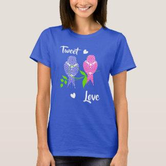 Pretty Lacey Patterned Birds Tweet Love T-Shirt