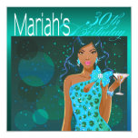 "Pretty Lady Birthday Cocktail Party teal/aqua 5.25"" Square Invitation Card"