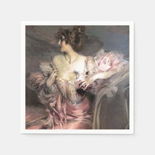 Pretty Lady Pink Vintage Fashion Antique Painting Paper Napkins