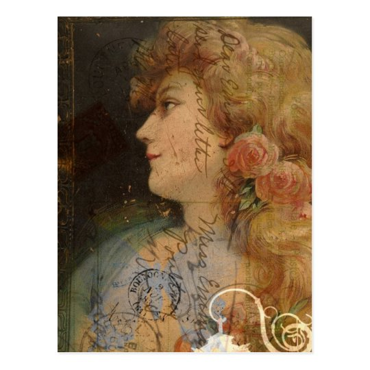 Pretty Lady Vintage Digital Collage Postcard