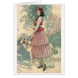 Pretty Lady Walking Her Dog, Card