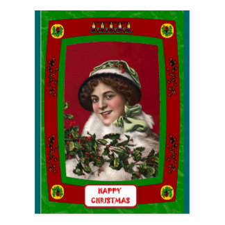 Pretty lady with holly postcard