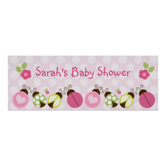 Pretty Ladybugs & Flowers Poster/Banner Large Poster