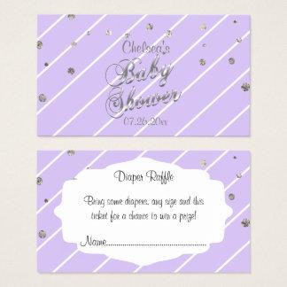 Pretty Lavender and Silver - Diaper Raffle Business Card