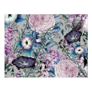 Pretty Lavender Botanical Floral Pattern Postcard