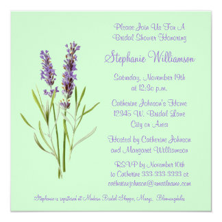 "Pretty Lavender Herb Sprig on Green Bridal Shower 5.25"" Square Invitation Card"