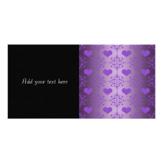 Pretty Lavender Purple Hearts Damask Photo Greeting Card