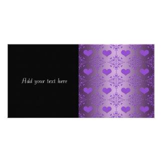 Pretty Lavender Purple Hearts Damask Personalized Photo Card