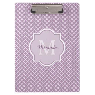Pretty Lavender Purple Quatrefoil Monogrammed Name Clipboard