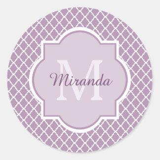 Pretty Lavender Purple Quatrefoil Monogrammed Name Round Sticker
