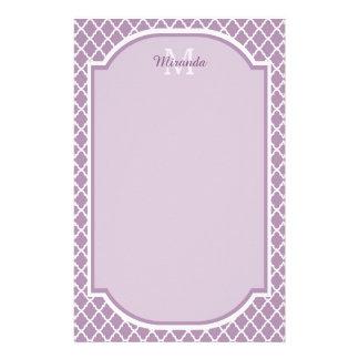 Pretty Lavender Purple Quatrefoil Monogrammed Name Stationery Design