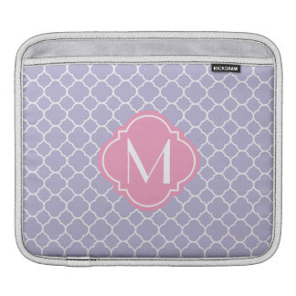 Pretty Lavender Quatrefoil Pattern iPad Sleeve