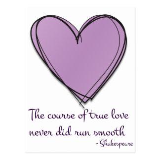 Pretty Lavender The Course of True Love Postcard