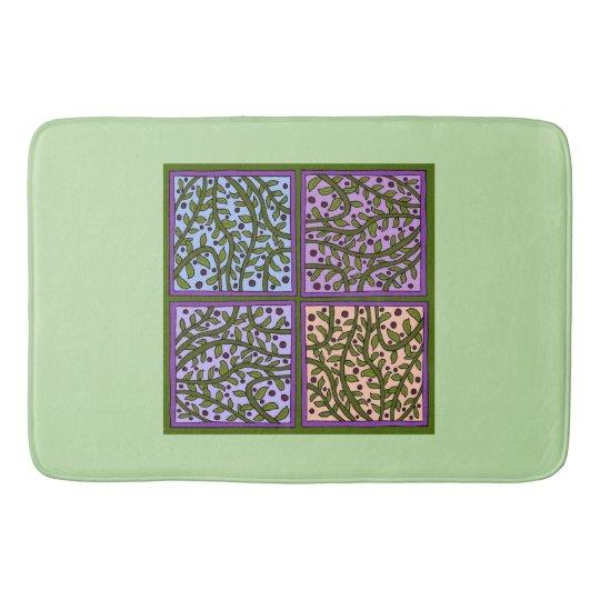 Pretty Leaf and Vine Panels Bath Mat