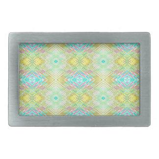 Pretty Lemon Lime Blue Pastel Tribal Pattern Belt Buckle