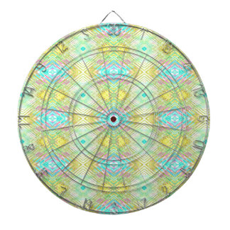 Pretty Lemon Lime Blue Pastel Tribal Pattern Dartboard With Darts