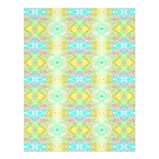 Pretty Lemon Lime Blue Pastel Tribal Pattern Letterhead
