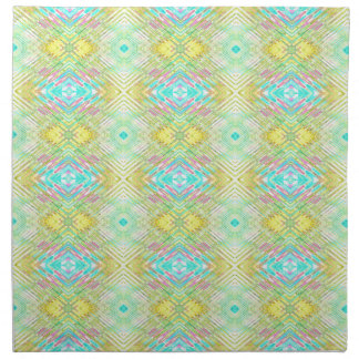 Pretty Lemon Lime Blue Pastel Tribal Pattern Napkin