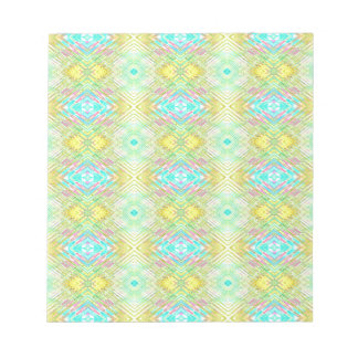 Pretty Lemon Lime Blue Pastel Tribal Pattern Notepad