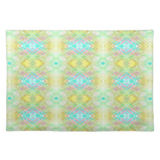 Pretty Lemon Lime Blue Pastel Tribal Pattern Placemat