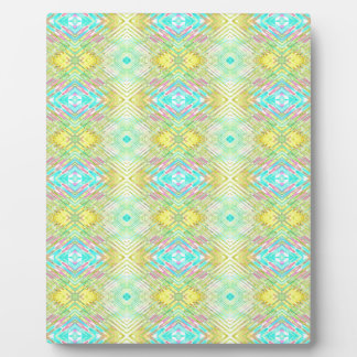 Pretty Lemon Lime Blue Pastel Tribal Pattern Plaque