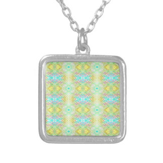 Pretty Lemon Lime Blue Pastel Tribal Pattern Silver Plated Necklace