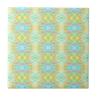 Pretty Lemon Lime Blue Pastel Tribal Pattern Tile