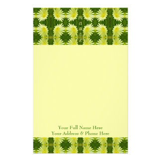 Pretty Lemon Yellow Daisy Flower Green Cute Nature Customized Stationery