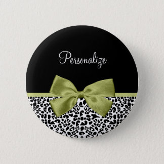 Pretty Leopard Print Spring Green Bow With Name 2 Inch Round Button