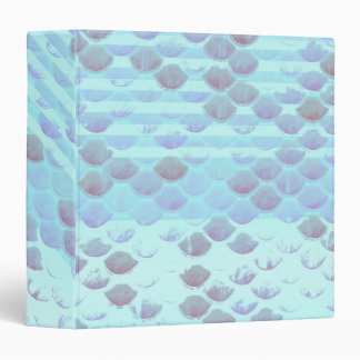 Pretty Light Blue Striped Mermaid Fish Scales Vinyl Binder