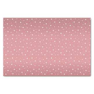 Pretty Light Dusty Rose and White Stars Tissue Paper
