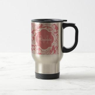 Pretty Light Pink Floral Girly Monogram With Name Travel Mug