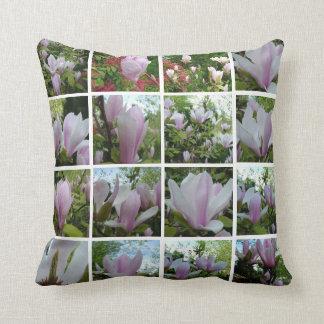 Pretty light purple magnolia flowers  instagram throw pillow
