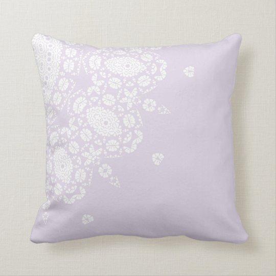 Pretty Lilac White Lace Pattern Throw Pillow