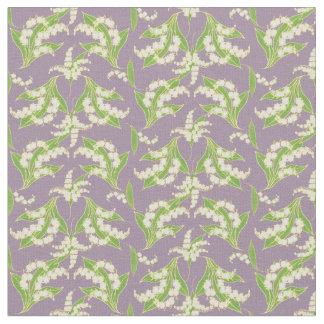 Pretty Lilies-of-the-Valley on Mauve Floral Fabric