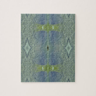 Pretty Lime Blue Artistic Pattern Jigsaw Puzzle