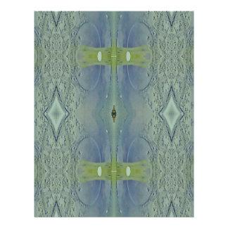 Pretty Lime Blue Artistic Pattern Personalized Letterhead