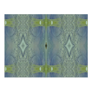 Pretty Lime Blue Artistic Pattern Postcard