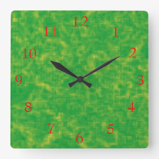Pretty Lime Green and Yellow>Patterned Clock