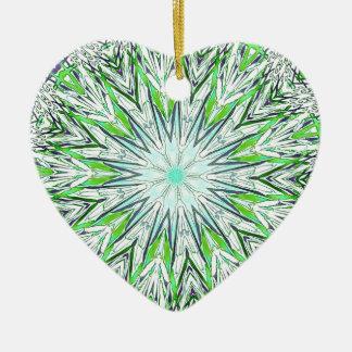 Pretty Lime Green Snowflake Shaped Mandala Ceramic Heart Ornament