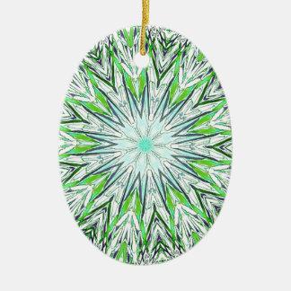 Pretty Lime Green Snowflake Shaped Mandala Ceramic Oval Ornament