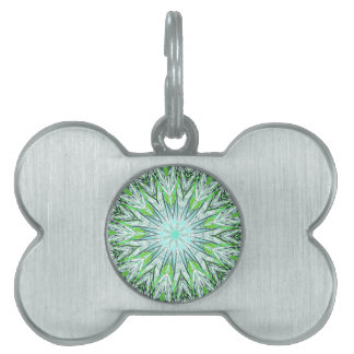 Pretty Lime Green Snowflake Shaped Mandala Pet Name Tag