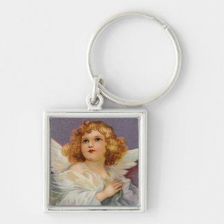 Pretty Little Angel Silver-Colored Square Keychain