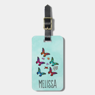 Pretty Little Butterflies on Mint Green Luggage Tag