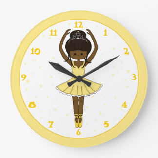 Pretty Little Cartoon Ballerina Girl in Yellow Large Clock