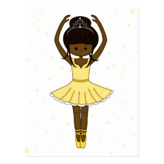 Pretty Little Cartoon Ballerina Girl in Yellow Postcard