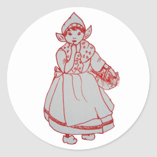 Pretty Little Dutch Girl Classic Round Sticker