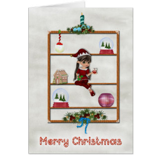 Pretty Little Girl Elf on a Curio Shelf Card