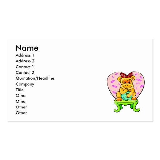 Pretty Little Love Monkey Business Card Template