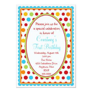 Pretty Little Polka Dots 1st Birthday Invitations